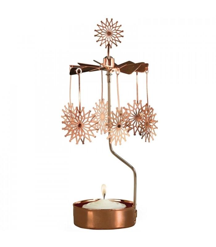 bougeoir de no l cuivre motif fleur toiles. Black Bedroom Furniture Sets. Home Design Ideas