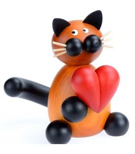 Chat en bois peint avec coeur