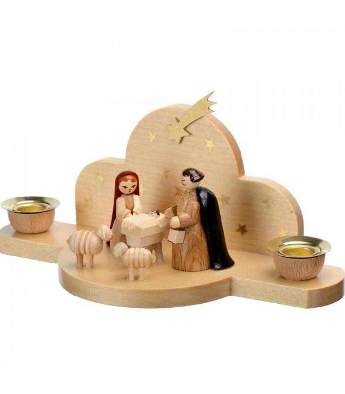 petite cr che de noel pour enfant en bois avec personnages 17cm. Black Bedroom Furniture Sets. Home Design Ideas