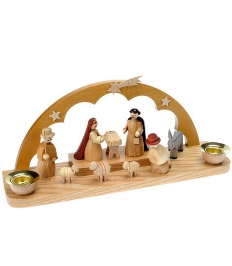 Mini cr che de no l artisanale en bois avec arche 21 cm - Fabriquer creche de noel en bois ...