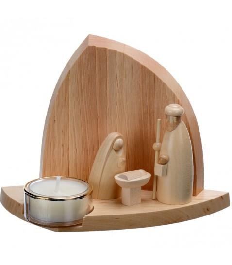 Petite creche de noel design artisanale en bois avec bougeoir photophore de 11 cm - Idee decoration creche noel ...