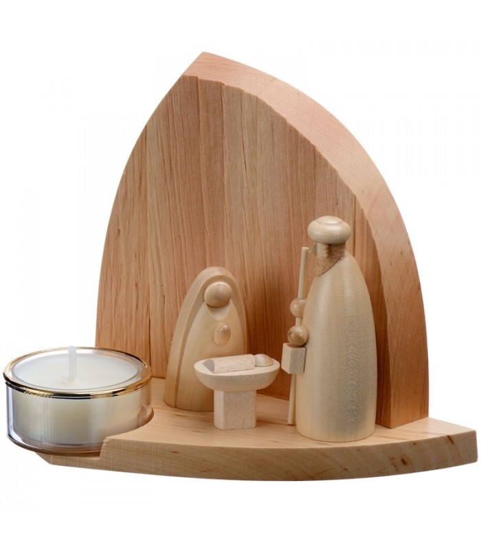 petite creche de noel design artisanale en bois avec bougeoir photophore de 11 cm. Black Bedroom Furniture Sets. Home Design Ideas
