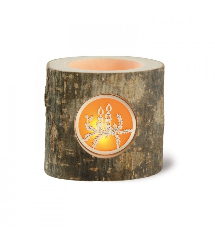 Décoration de Noel, bougeoir en rondin de bois motif bougies