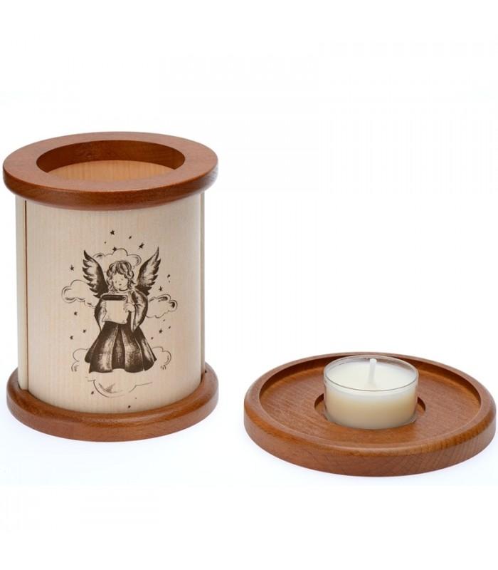 photophore en bois avec un bougeoir ange de no l. Black Bedroom Furniture Sets. Home Design Ideas