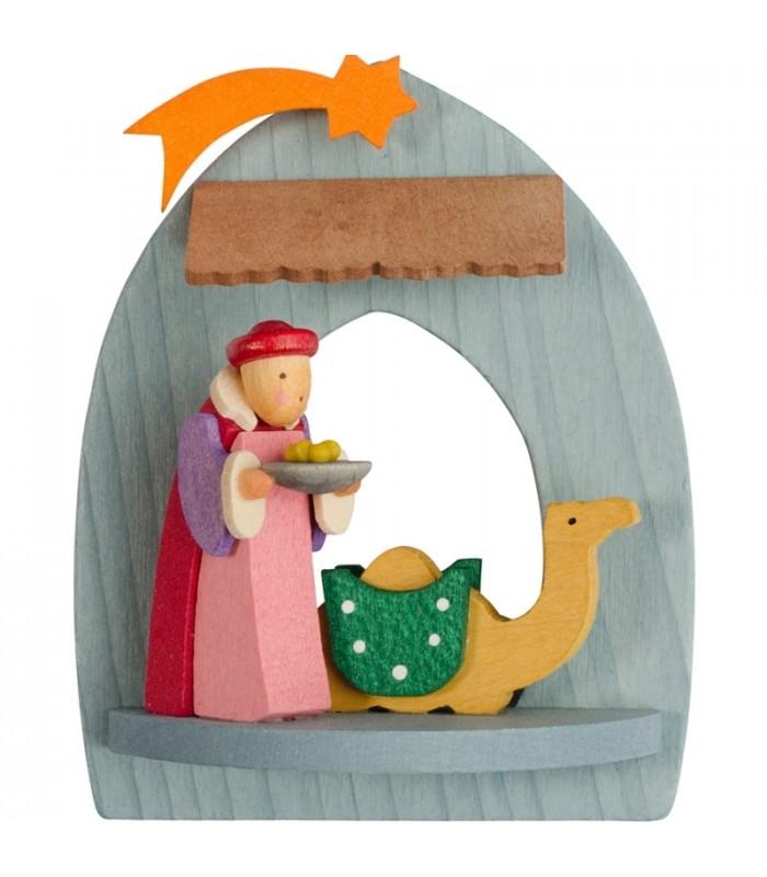 Cr u00e8cheà suspendre au sapin de Noel, roi mage Balthazar, bois peint # Creche Bois Le Roi