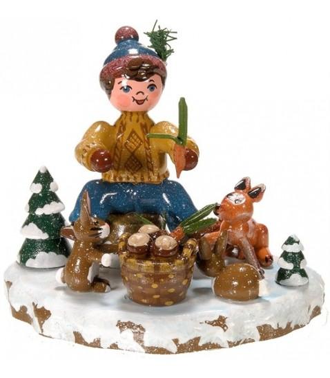 Winterkinder Hubrig, figurines en bois peint pour petits enfants, garcon et petits animaux
