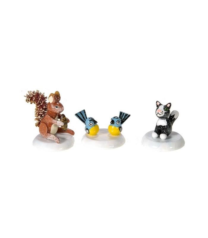 petits animaux de la for t pour figurines winterkinder cureuil chat et mesange. Black Bedroom Furniture Sets. Home Design Ideas