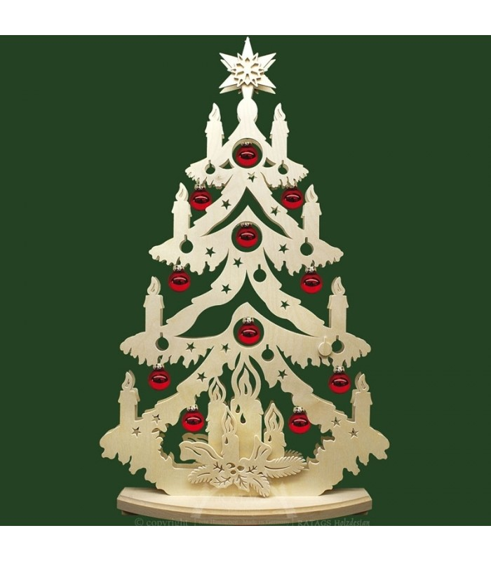 Sapin en bois électrique avec boules de Noël rouges grand modèle