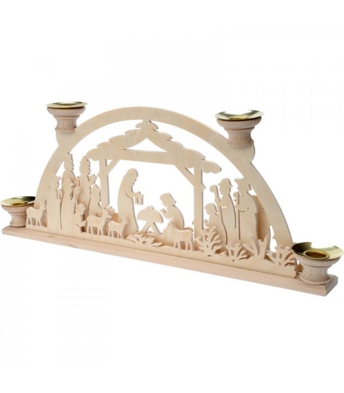 Bougeoir de l 39 avent en bois cr che de no l avec 4 bougies for Porte bougie en bois