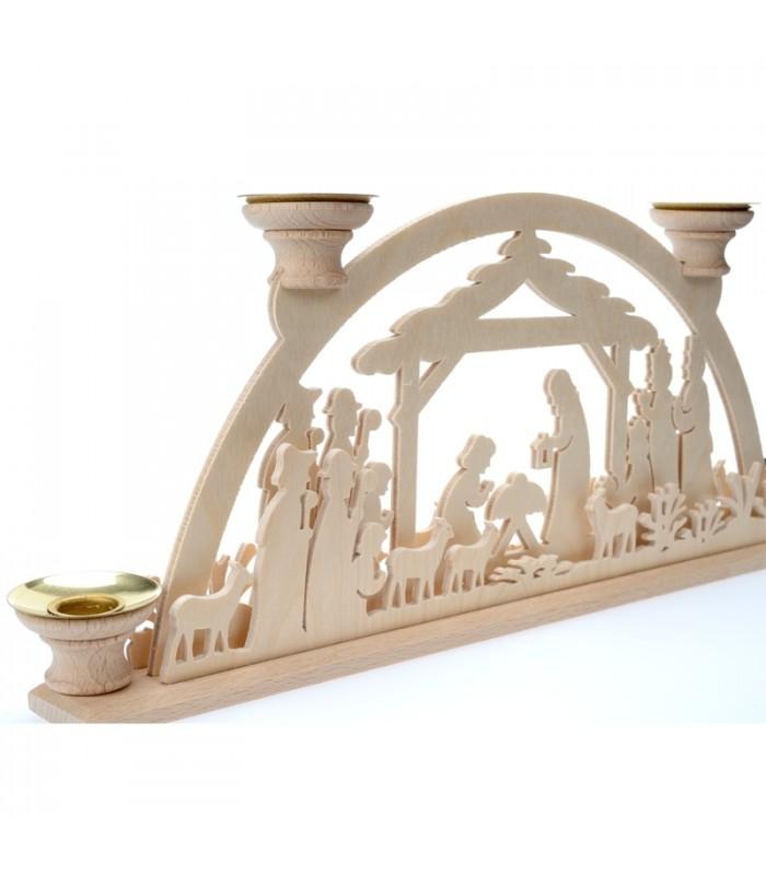 Bougeoir de l 39 avent en bois cr che de no l avec 4 bougies - Porte bougie en bois ...
