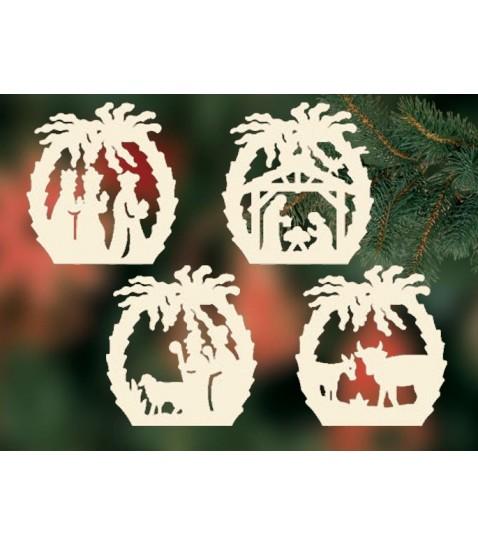 4 d corations pour sapin de no l cr ches en bois avec palmier - Decoration en bois pour sapin de noel ...