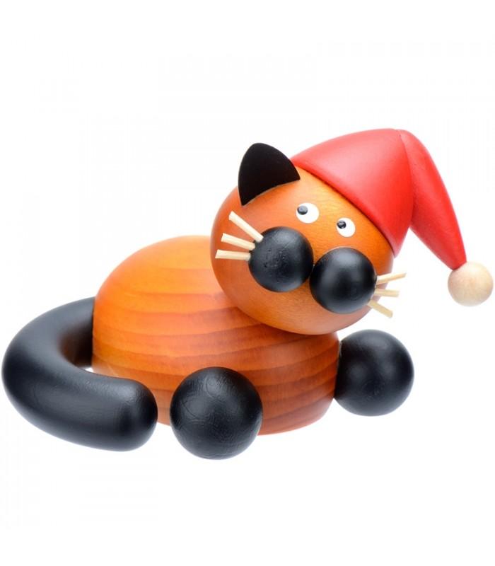 D coration de no l originale figurine chat en bois avec un bonnet rouge 5 cm - Petit pere noel figurine ...