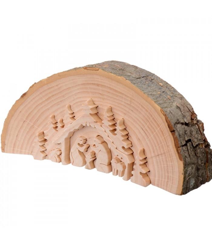 cr che de no l en bois cisel dans un rondin de bois 15 cm. Black Bedroom Furniture Sets. Home Design Ideas