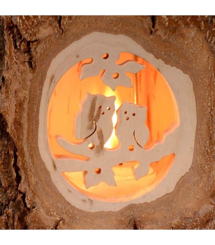 Lanterne photophore en bois motif couple d 39 hiboux - Lanterne en bois ...