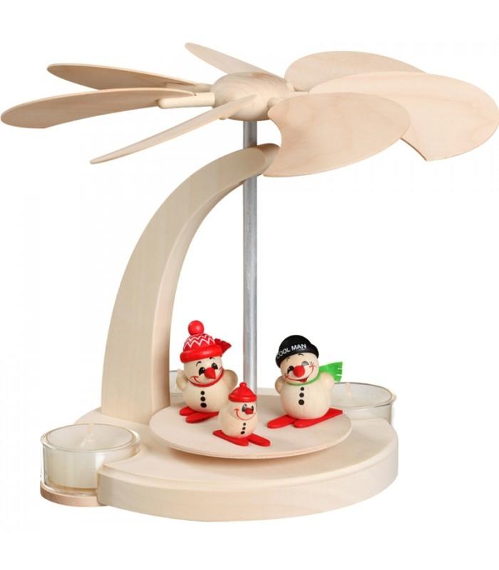 Petit carrousel en bois pour enfant avec 3 bonhommes de neige ski et 4 bougeoirs - Bonhomme de neige en bois ...