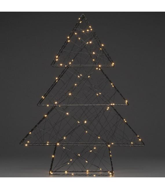 Sapin de Noël métallique à Led, noir, 100 diodes blanc chaud
