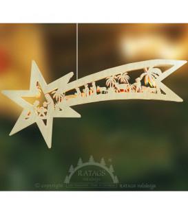 Grande étoile lumineuse en bois à suspendre