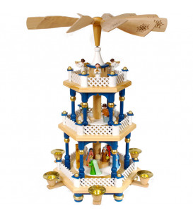 Weihnachtspyramid allemande 2 étages blanc bleu