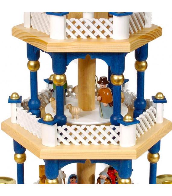 Weihnachtspyramid allemande aux couleurs baroques blanc et bleu