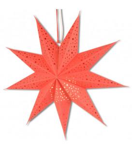 Étoile lumineuse rouge en papier à suspendre, 45 cm