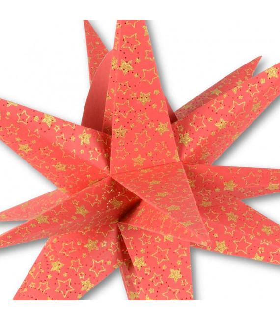 Étoile lumineuse électrique 9branches en papier, à suspendre, rouge, 45 cm