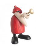 Père Noël en bois trompettiste