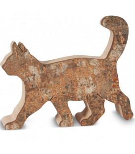 Chat en bois marchant, 9,5 cm