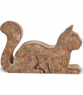 Chat en bois allongé, 6 cm