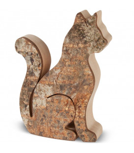 Chat en bois assis, 8,5 cm
