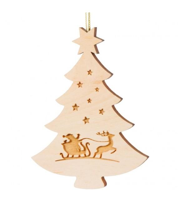 Pendentif sapin de Noël en bois, père Noël et traîneau