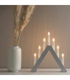 Chandelier en bois scandinave, laqué gris mat, 7 ampoules