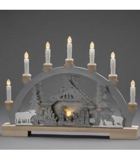 Arche lumineuse Led en bois avec crèche de Noël, 7 lampes, 45 cm