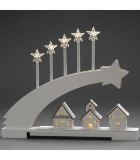 Silhouette en bois LED, étoile filante et village illuminé, 45 cm
