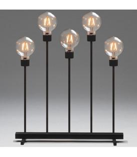 Chandelier LED 5ampoules rondes ambrées en métal noir, 54 cm