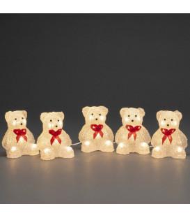 Oursons lumineux à LED en acrylique avec ruban rouge, 12 cm