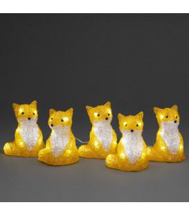 Renards lumineux acryliques LED assis, lot de 5, 12 cm