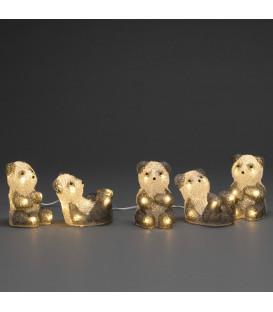 Pandas lumineux en acrylique LED, lot de 5, 11,5 cm