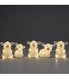 Petits cochons lumineux en acrylique LED 12,5 cm, lot de 5