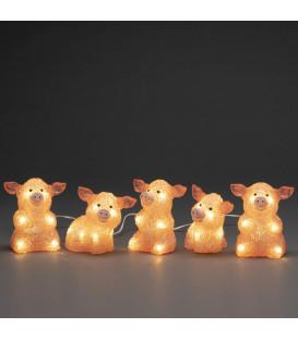 Petits cochons roses lumineux en acrylique LED 12,5 cm, lot de 5
