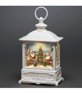 Lanterne de Noël blanche, village de Noël avec sapin