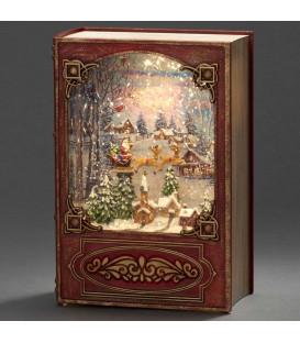 Livre de Noël lanterneà neige, Père Noël dans un traîneau