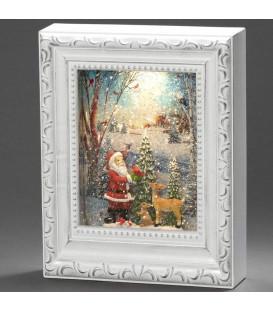 Cadre photo lumineux père Noël avec animaux