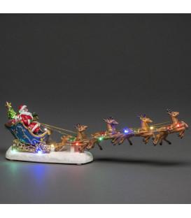 Scène à LED, Père Noël lumineux dans son traineau avec rennes