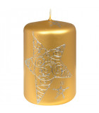Bougie doré décorative de Noël avec étoile, 9 cm