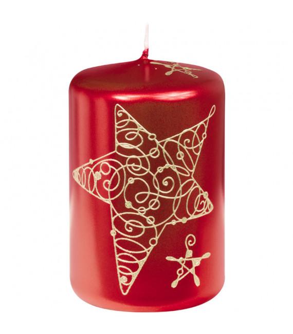Bougie décorative de Noël rouge avec étoile, 9 cm