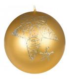 Boule Noël bougie or avec étoile, 8 cm