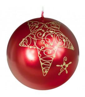 Bougie rouge de Noël boule avec étoile, 8 cm