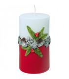 Bougie décorative de Noël, blanc rouge, 12 cm