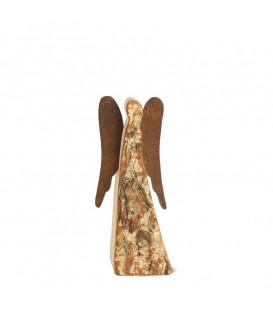 Ange de Noel en bois avec ailes métal, 9 cm