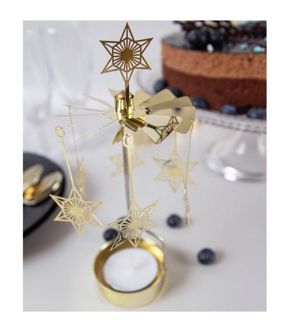 Bougeoir carrousel étoiles dorées